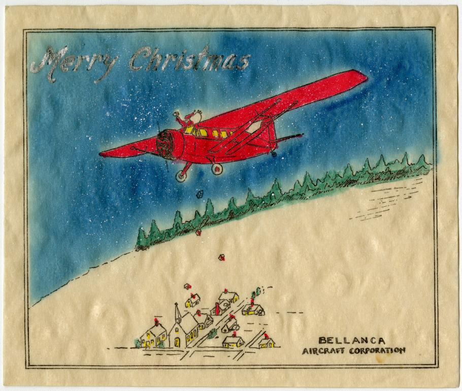 Drawing of Santa Claus in a Bellanca Skyrocket