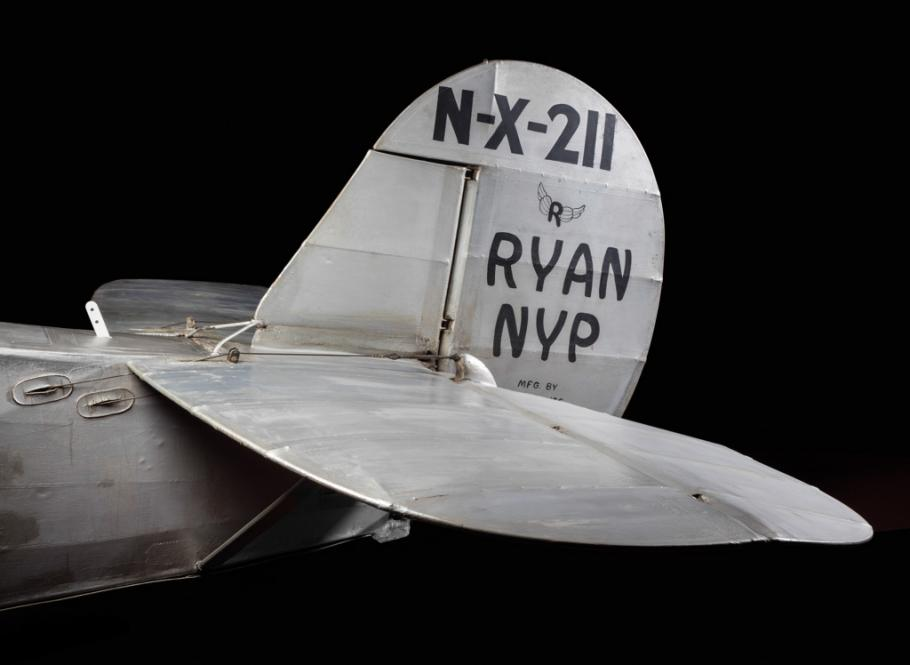 "Close up of the ""Spirit of St. Louis\"" small fin and rudder."