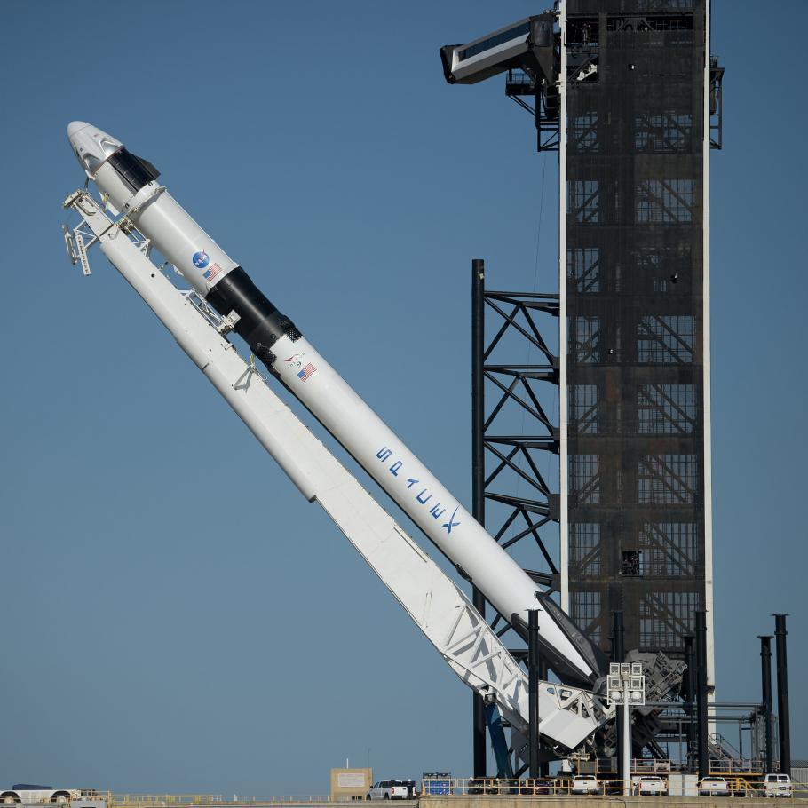 Falcon 9 on launch bad.