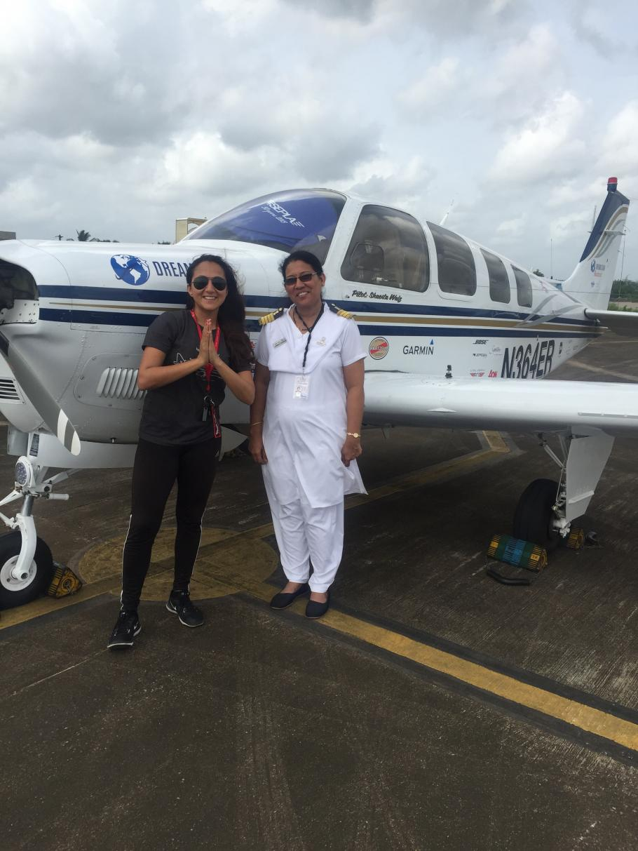 Shaesta Waiz in Mangalore, India with her aircraft and a female pilot.