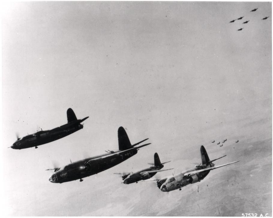 Four Marauders in flight