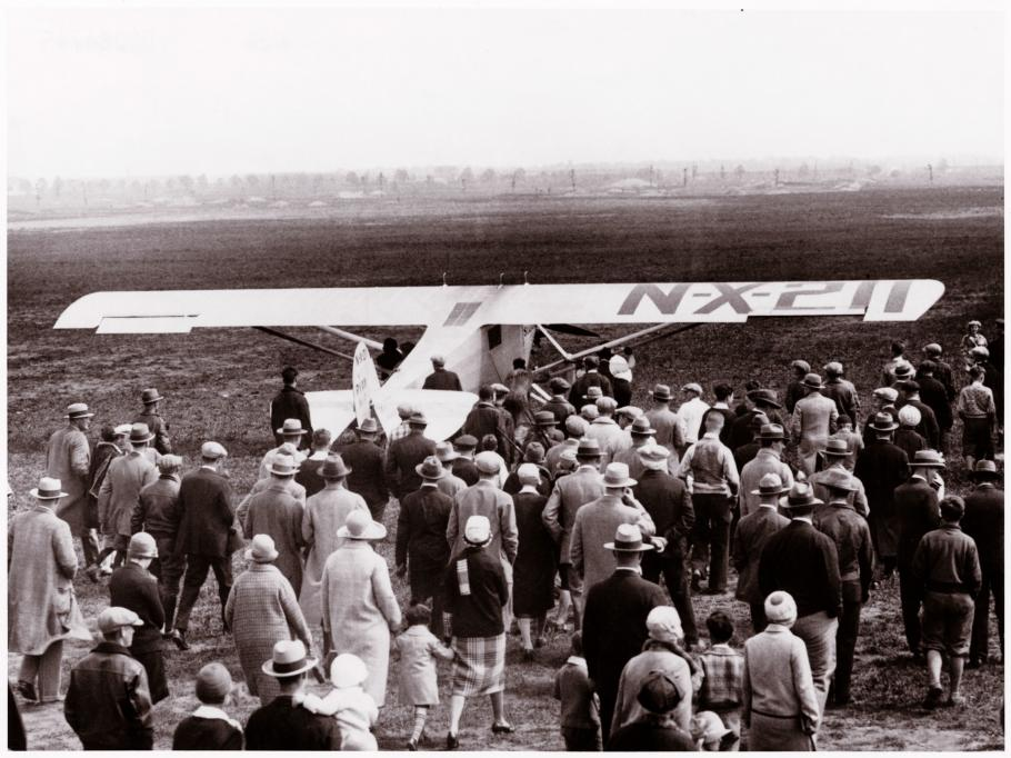 Lindbergh takes off from Roosevelt Field