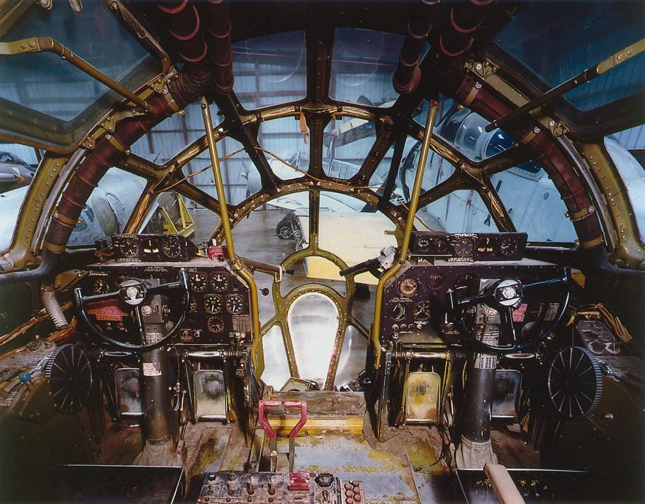 View from inside the cockpit of Boeing B-29 Superfortress Enola Gay