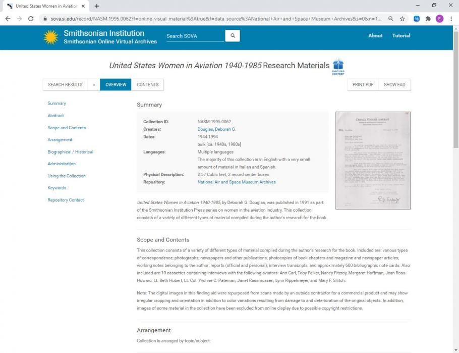 Screenshot of a collection record overview on the Smithsonian Online Virtual Archives. Menu bar on left, Collection information in center, image of document on right.