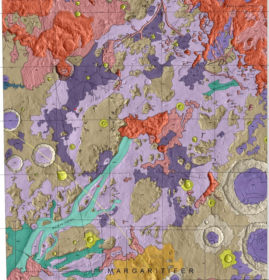 Geologic Map of Morava Valles and Margaritifer basin, Mars