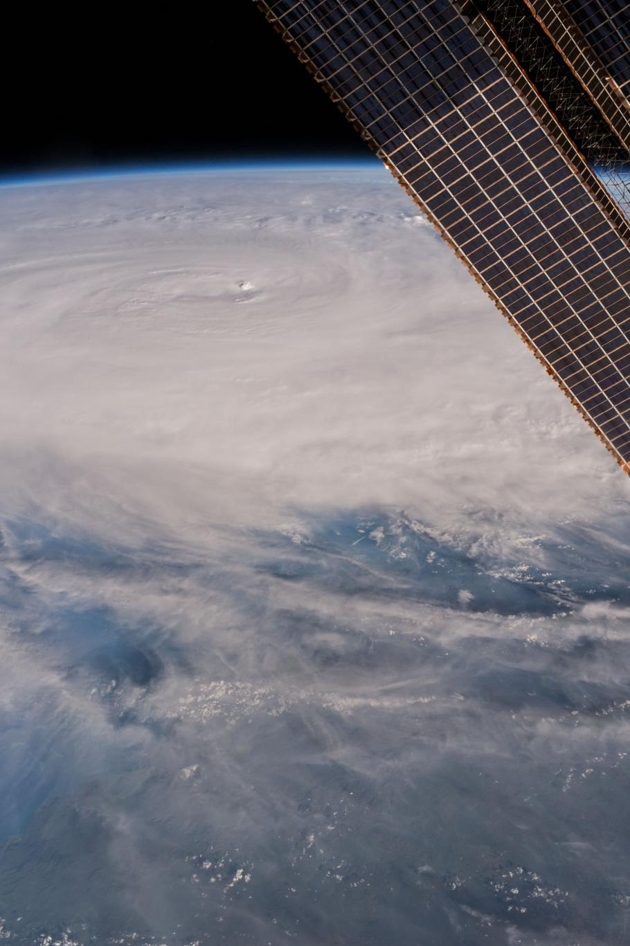 An image of the Earth with a major storm apparent.