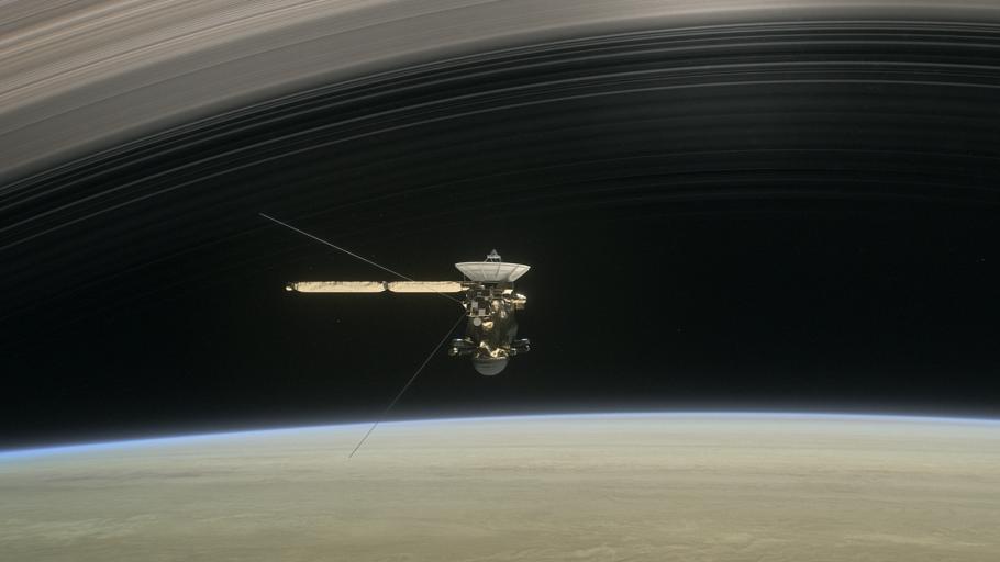 Illustration of Cassini crossing the rings of Saturn