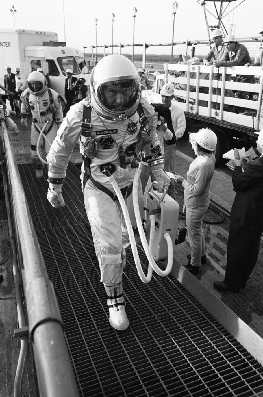 Gemini VI command pilot Wally Schirra and pilot Thomas Stafford arrive at Pad 19.