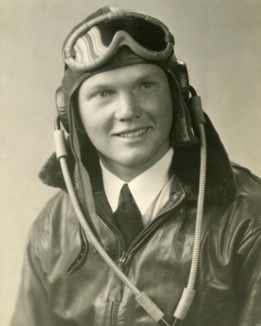 John Glenn dressed in flight gear, circa 1943