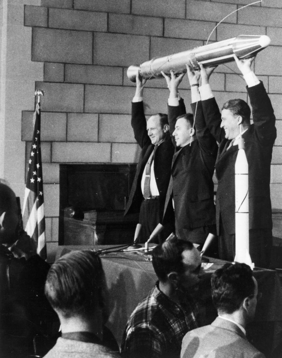 Dr. William H. Pickering, Dr. James A. van Allen, and Dr. Wernher von Braun Holding the Explorer 1 Satellite at Press Conference