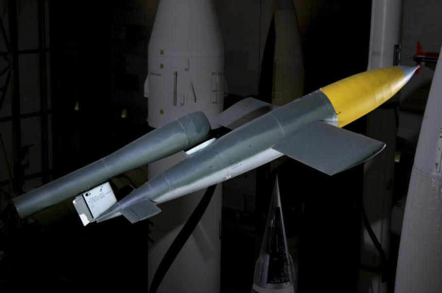 "V-1 ""Buzz Bomb\"" Hanging in Space Hall"