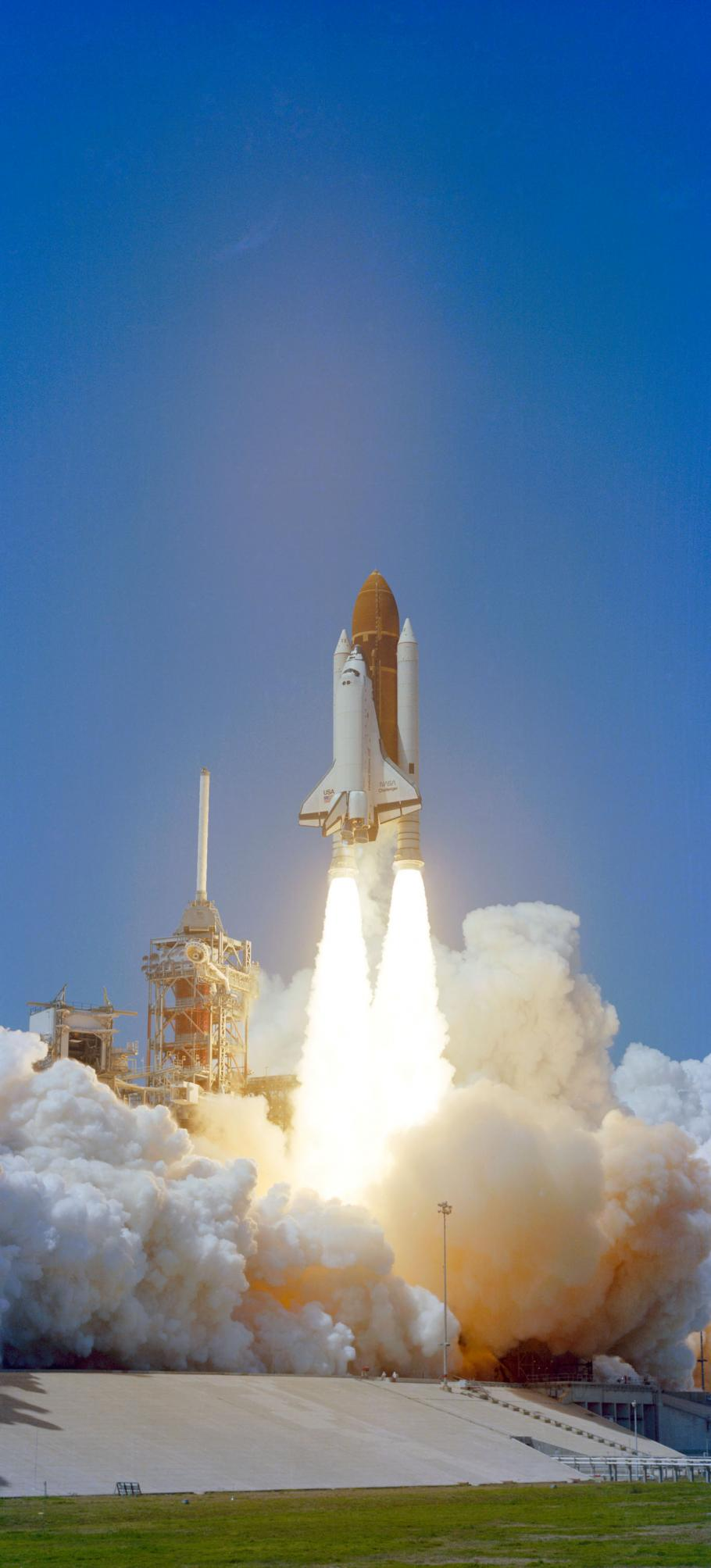 The Space Shuttle Challenger's taking off from the lanuch pad for its first launch, 1983.