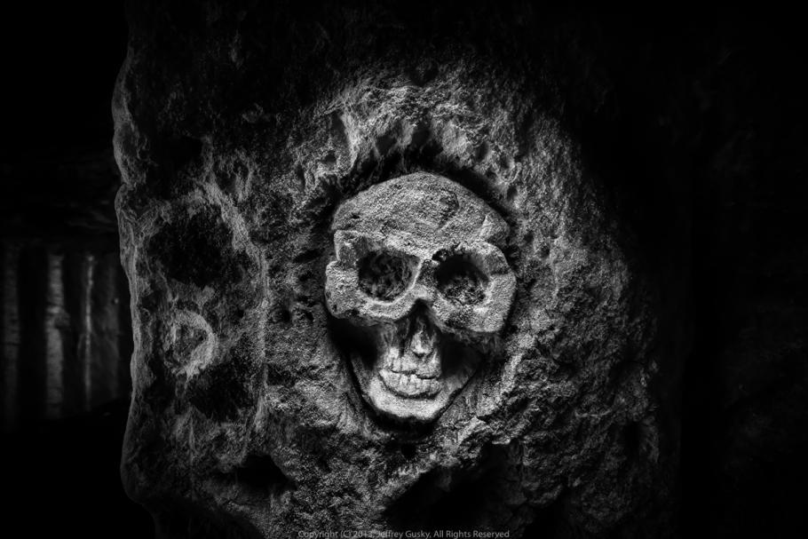 Skull engraved in stone.
