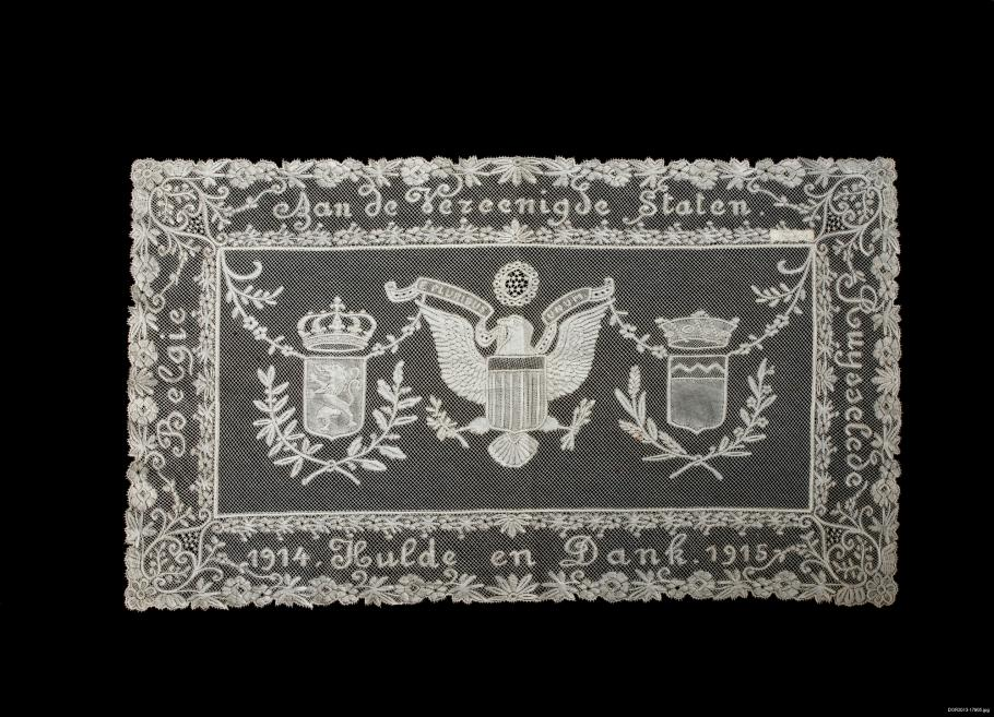 Rectangle lace with eagle.