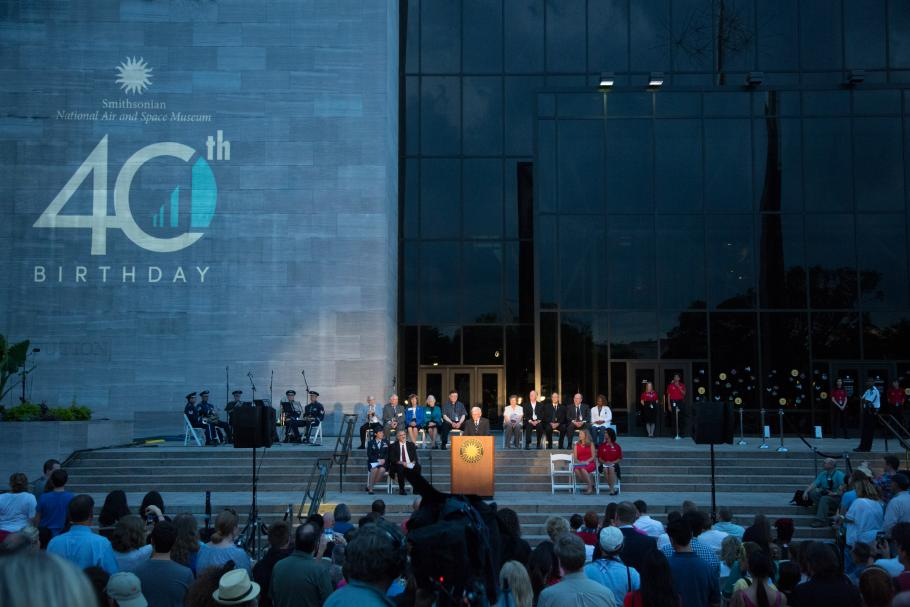 General J.R. Dailey addresses the crowd at ceremony celebrating the National Air and Space Museum's 40th anniversary