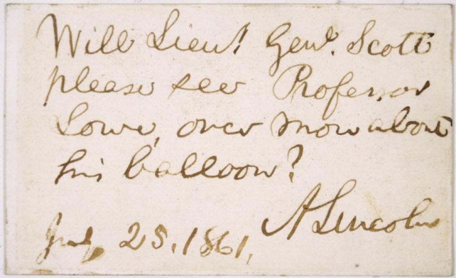 Abraham Lincoln's Note to Gen. Scott