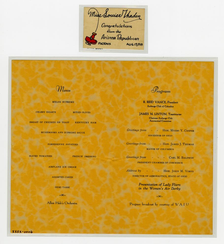 A menu for Aeronautical Banquet honoring the fliers in the Women's Air Derby.