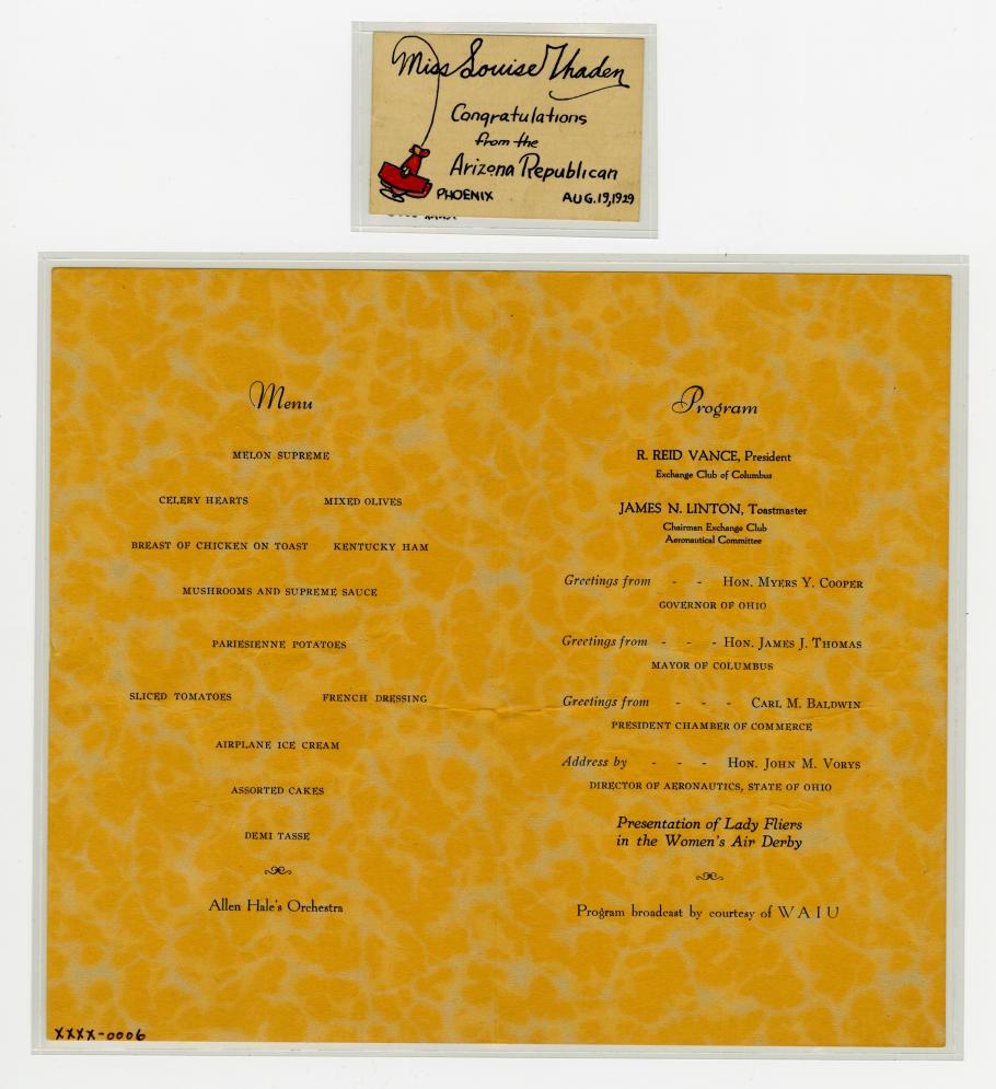 A menu for Aeronautical Banquet honoring the fliers in the Women's Air Derby.