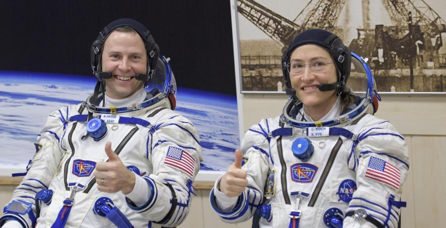 two astronauts in Sokol spacesuits