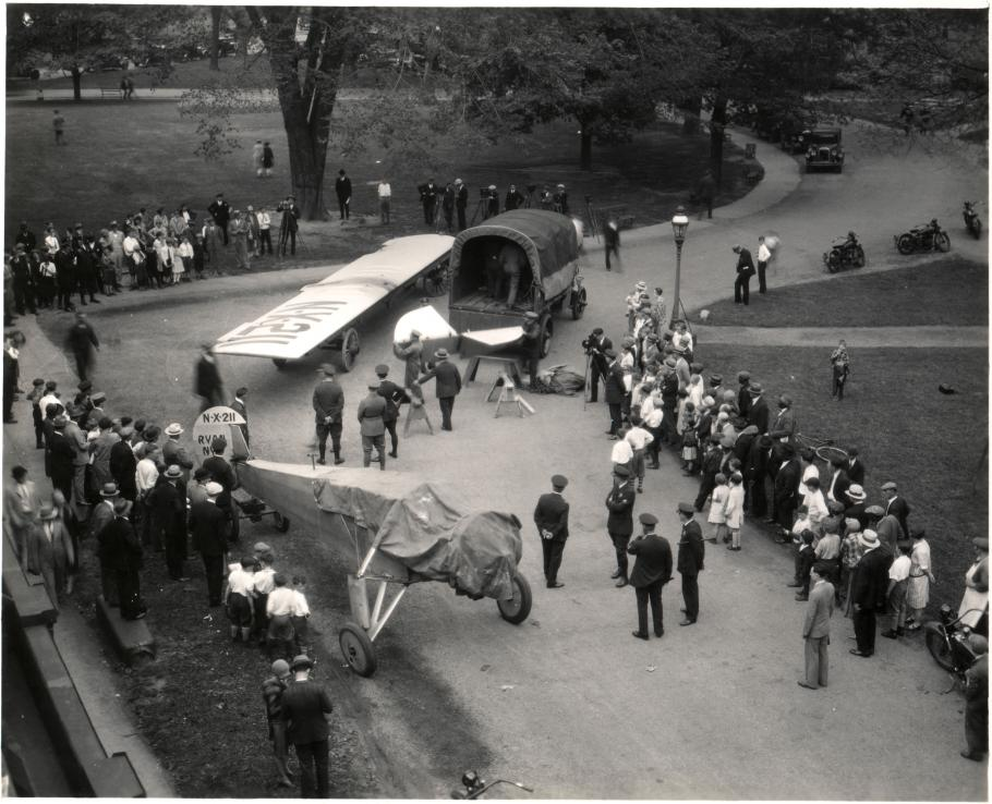 The Spirit of St. Louis arrives at the Smithsonian
