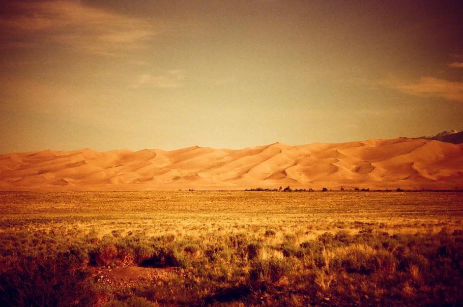Filtered image of the sand dunes in landscape.