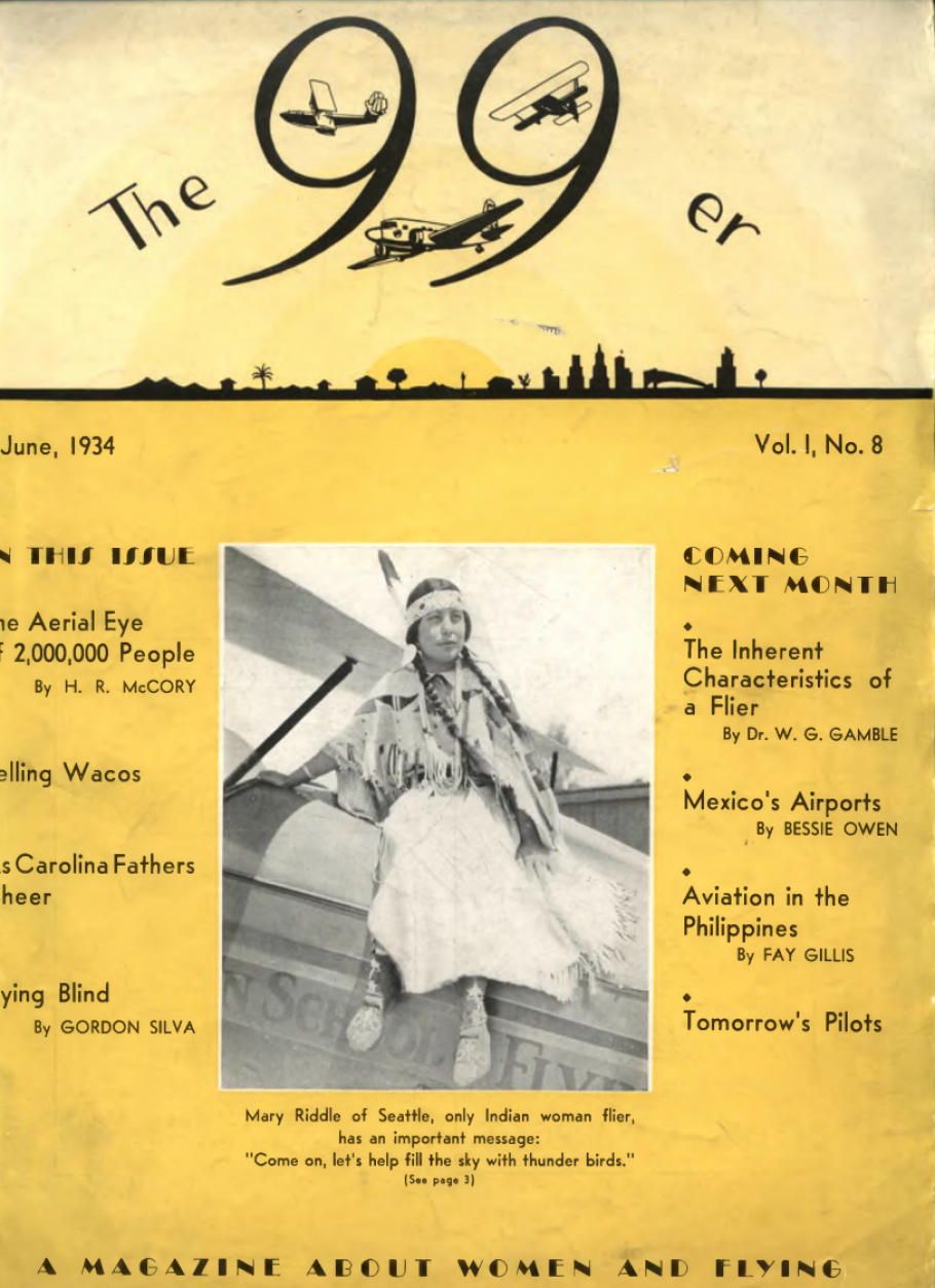 The cover of the June 1934 Ninety-Nines magazine. Pictured is Mary Riddle, the first Native American woman to earn her pilot's license.