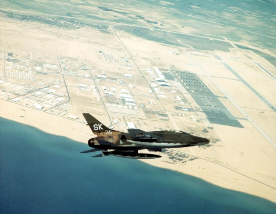 F-100C of the 188th Tactical Fighter Squadron, New Mexico Air National Guard, pictured flying over the Tuy Hoa Air Base, South Vietnam in 1968.