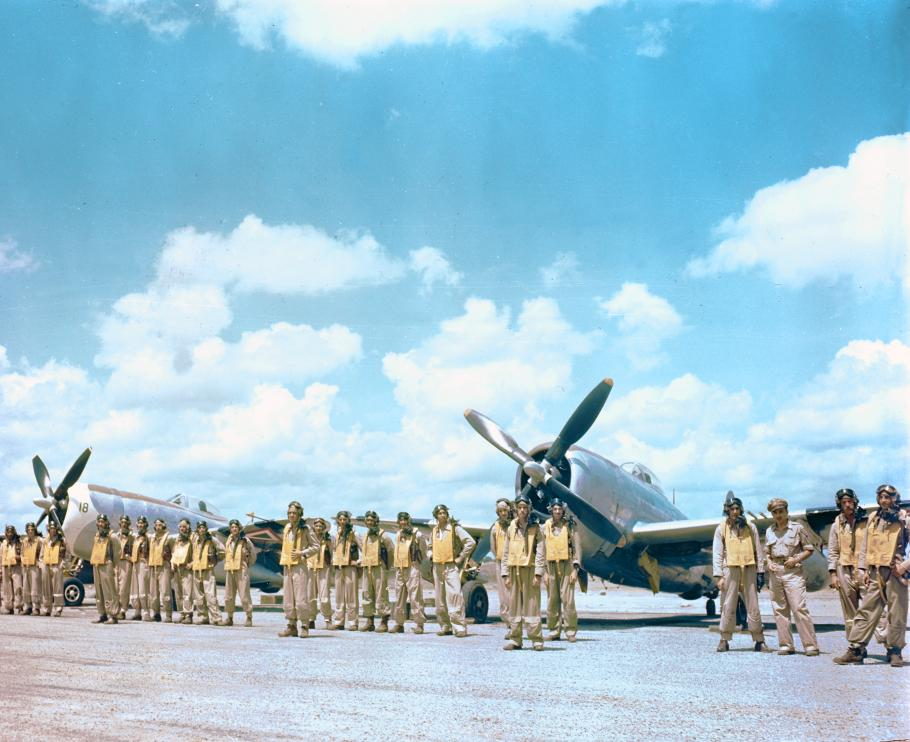 Mexican pilots of 201 Squadron pose in front of their P-47 Thunderbolts
