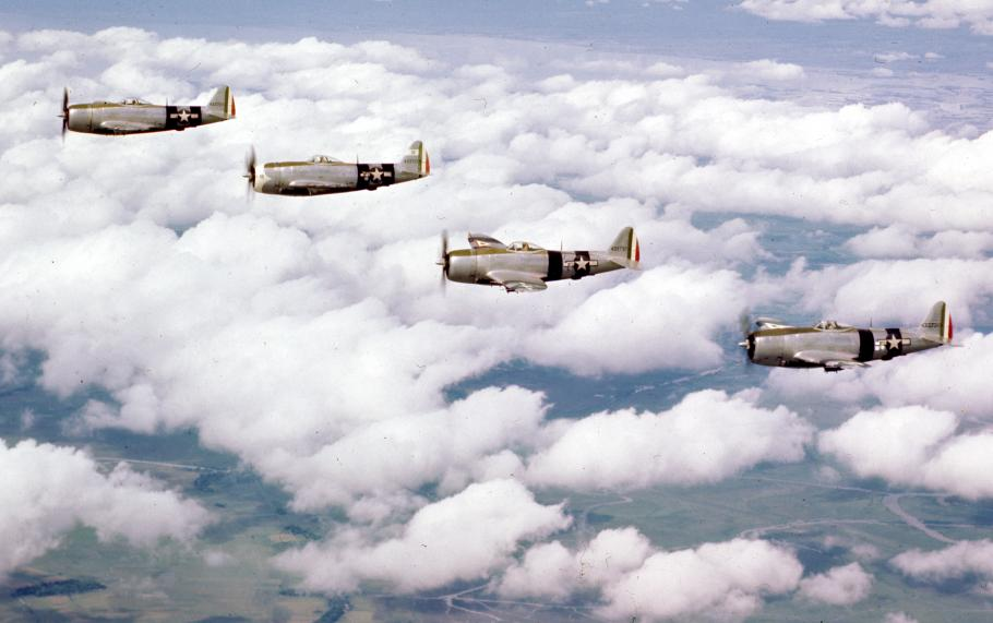 A flight of Mexican 201 Squadron P-47 Thunderbolts over Luzon