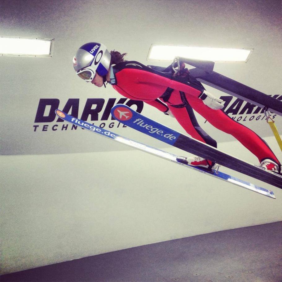 Team USA ski jumper Sarah Hendrickson training in a wind tunnel, 2014.