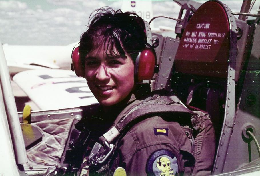 Retired Air Force Lt. Col. Olga Custodio, pictured in flight training.
