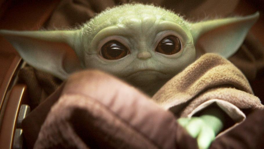 Baby Yoda fills the image.