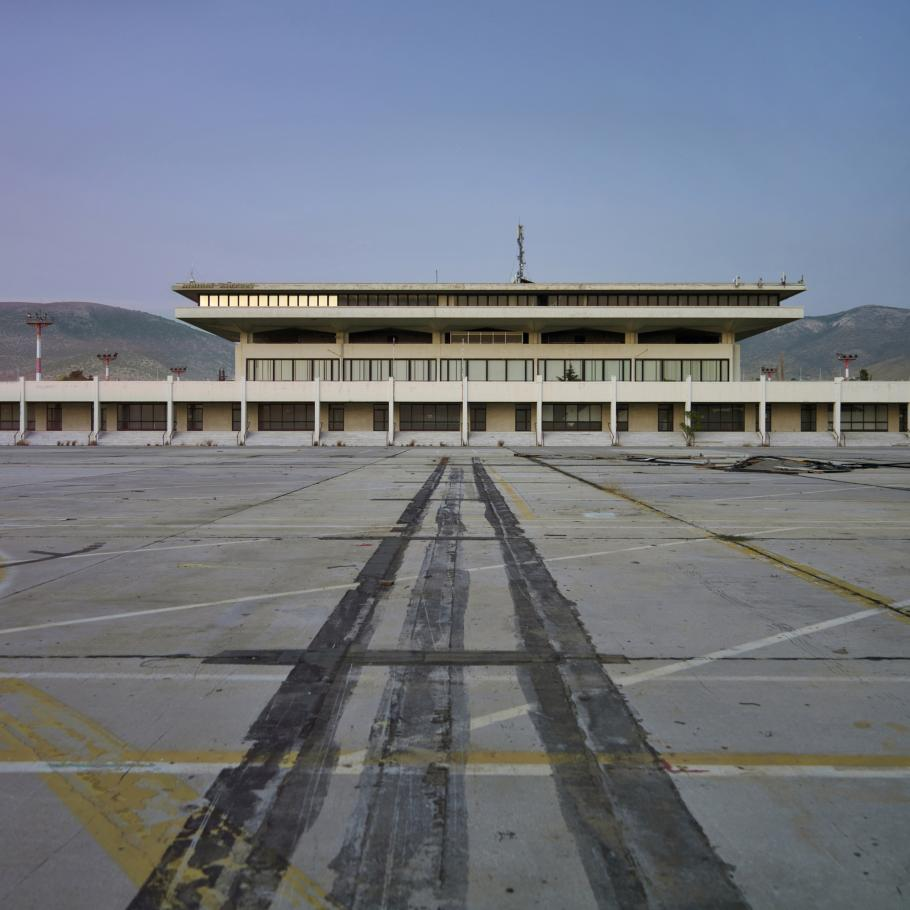 A view of the Ellinikon International Airport in Athens, Greece, which closed in 2001. This photo of the entrance to the now-defunct airport was taken in 2007.