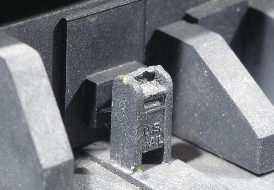 Close up of a post office box model.