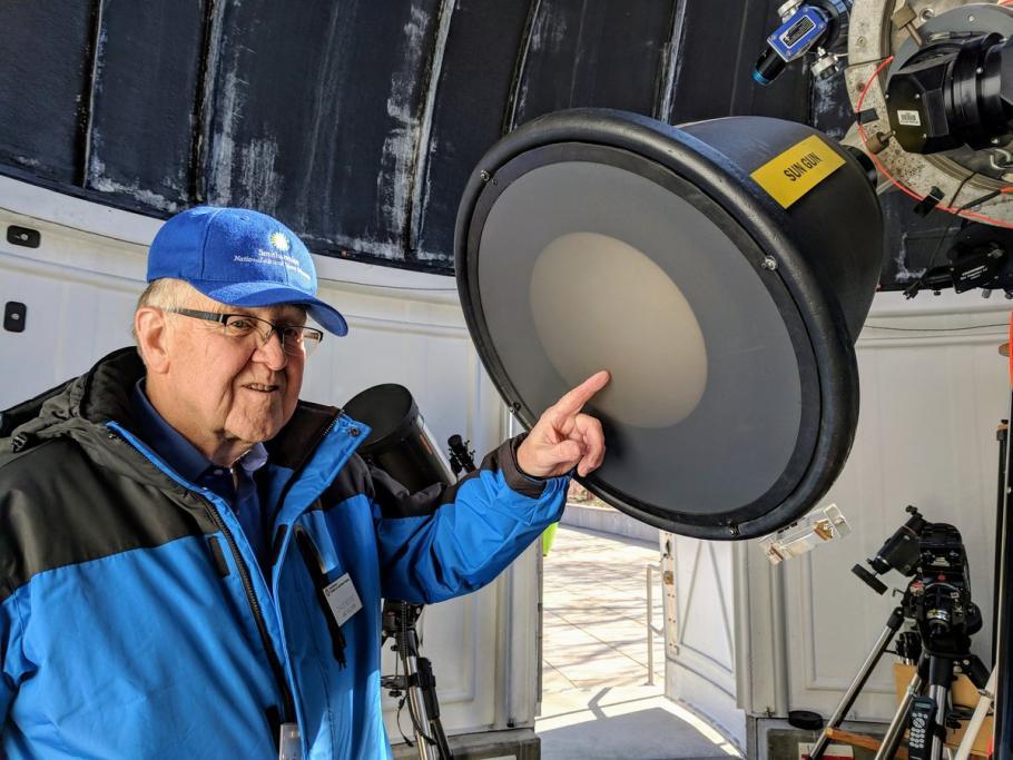 Volunteer David Boggs inside of the Phoebe Waterman Haas Public Observatory