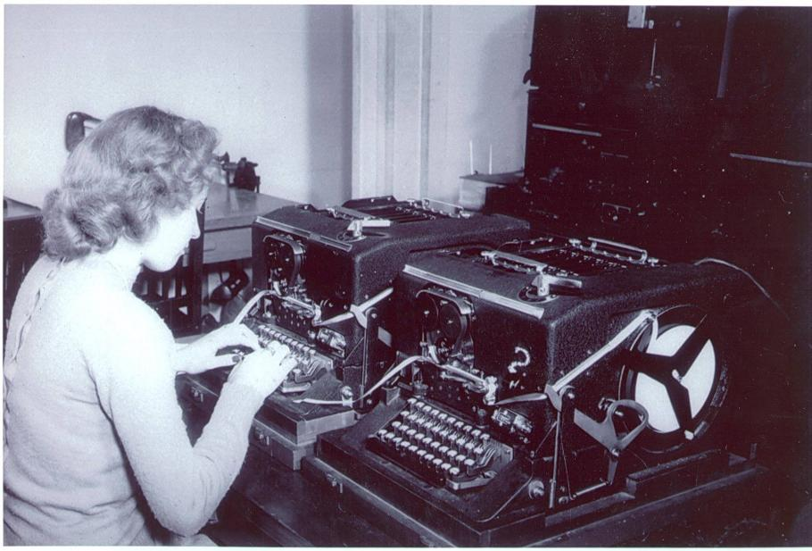 WAC operating Sigaba machine, decrypting messages, and intercepting and forwarding enemy coded messages.