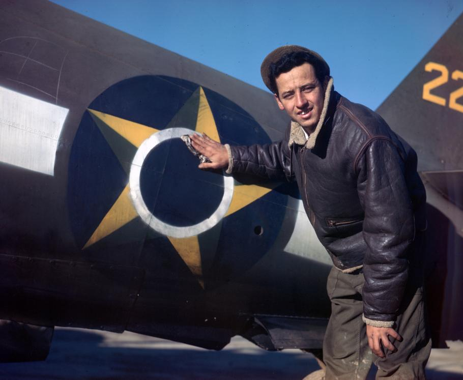 Brazilian national insignia of a 1st Brazilian Fighter Squadron P-47 Thunderbolt in Italy