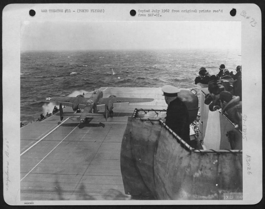 """Lt. Gen. Jimmy Doolittlein his B-25 """"Whirling Dervish"""" making his take off from the deck of the U.S.S. Hornet to make the first aerial attack on Tokyo on April 18, 1942."""