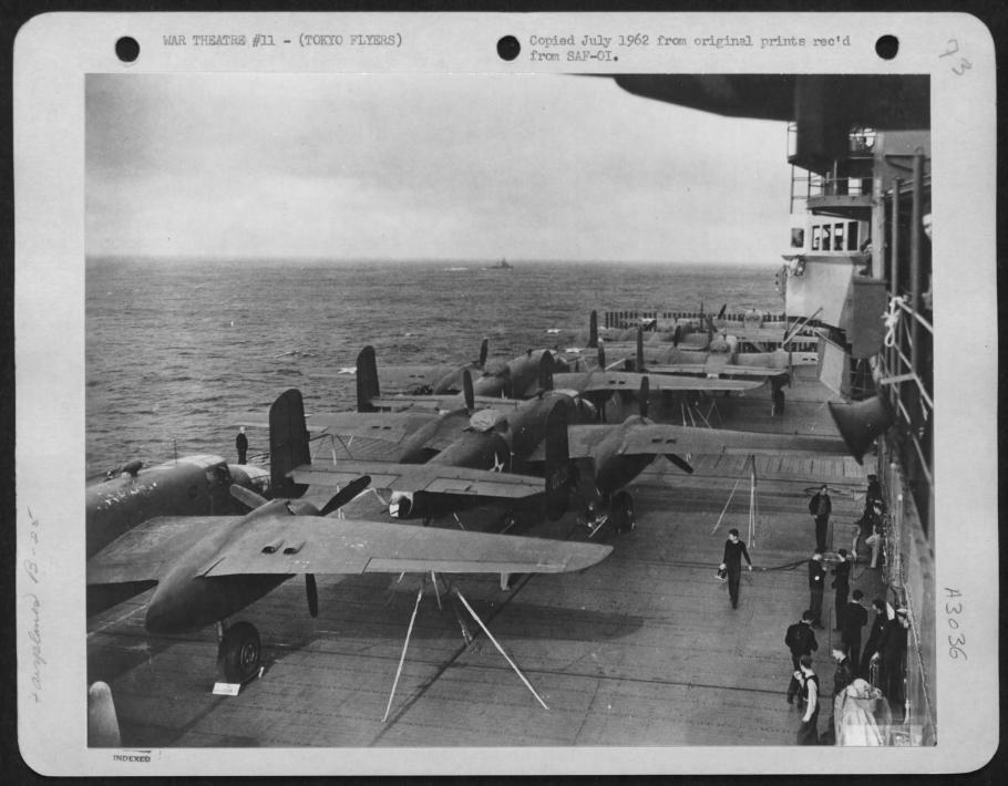 North American B-25 Mitchell Bombers on the deck of the U.S.S. Hornet in route to attack Japan.
