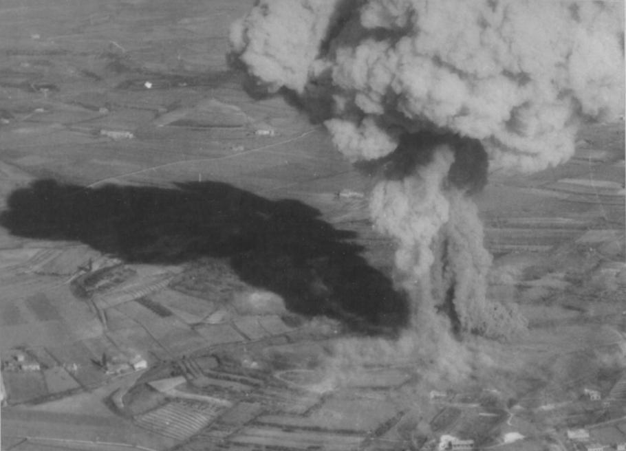 Italy explodes after being hit by Brazilian P-47s