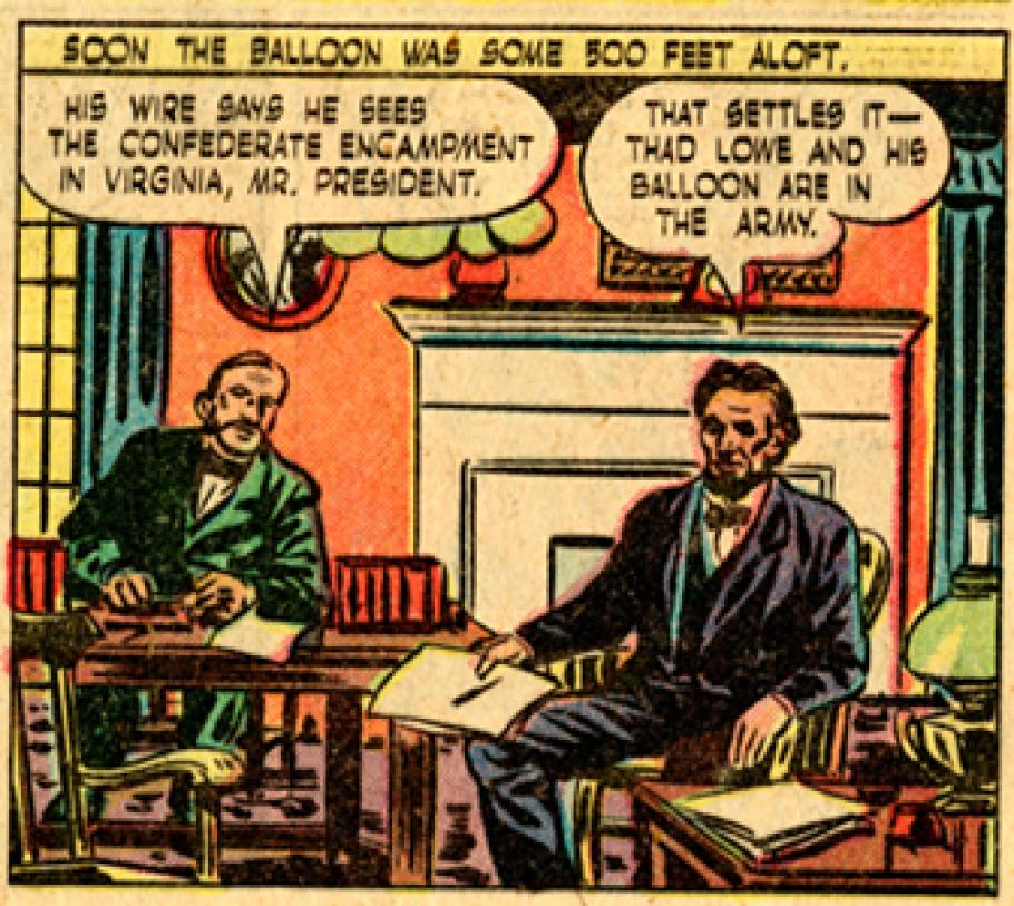 Colorful comic book rendition of balloon in combat.