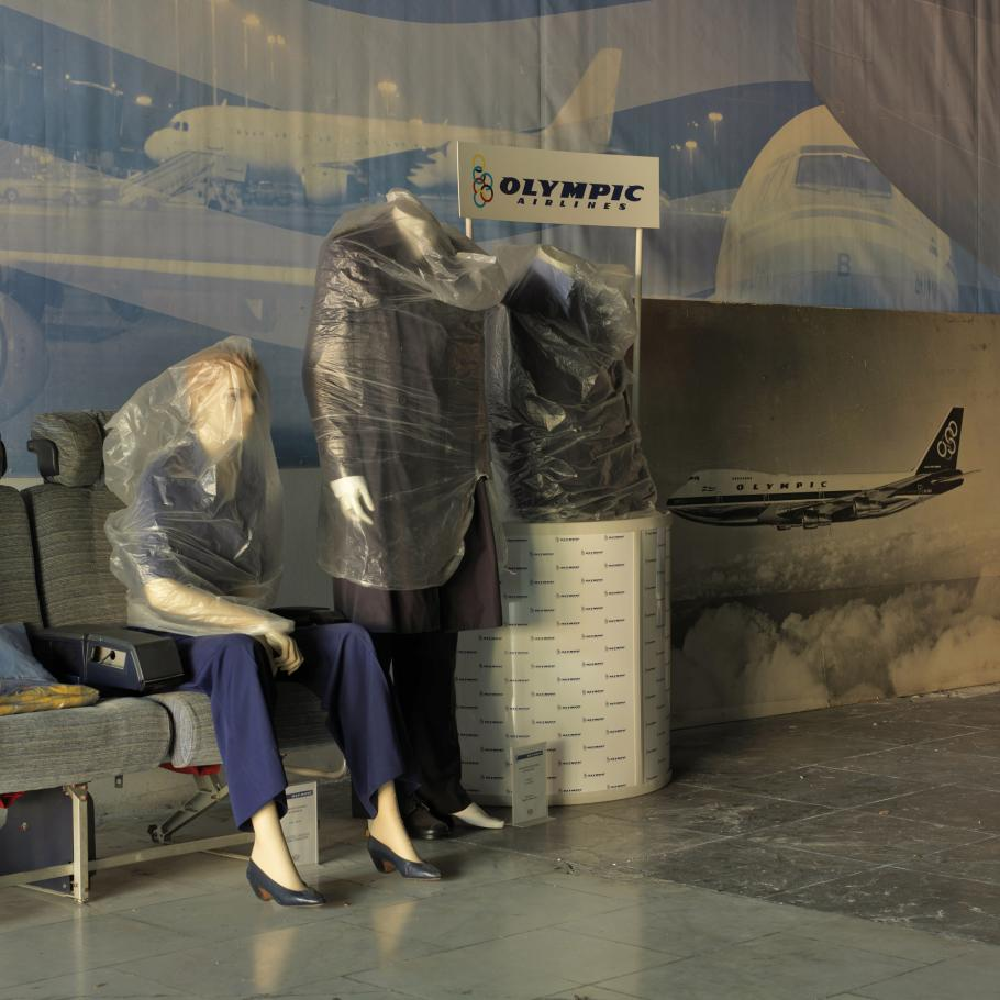 A view of the Ellinikon International Airport in Athens, Greece, which closed in 2001. This photo of wrapped-up mannequins in the now-defunct airport was taken in 2007.