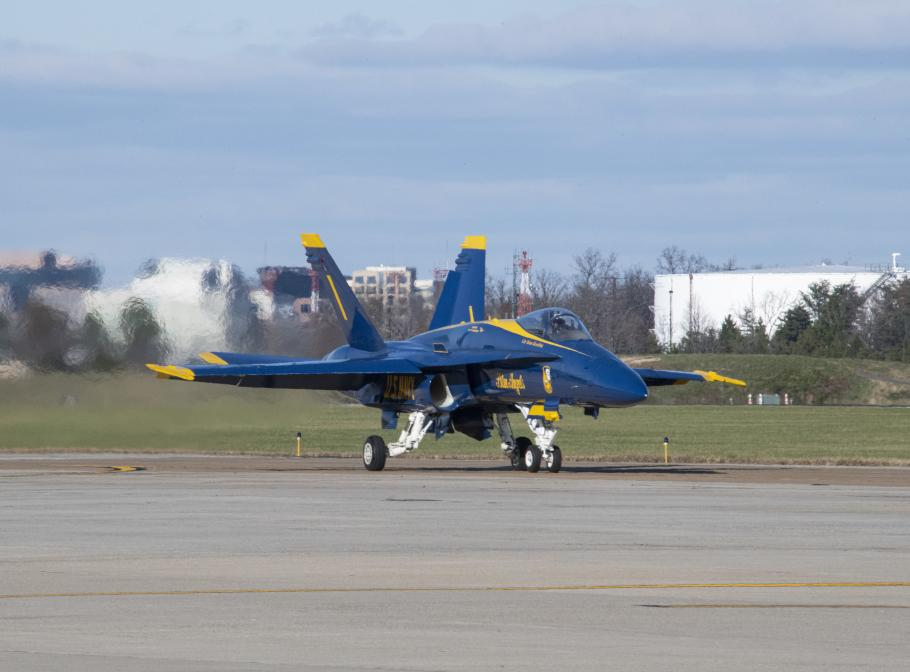 Blue Angels F/A-18C Hornet taxis after landing at Dulles International Airport