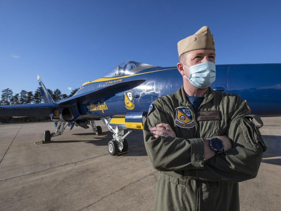 """Cmdr. Frank """"Walleye"""" Weisser, USN, a member of the Navy's Blue Angels, flew this McDonnell Douglas F/A-18C Hornet for the last time"""