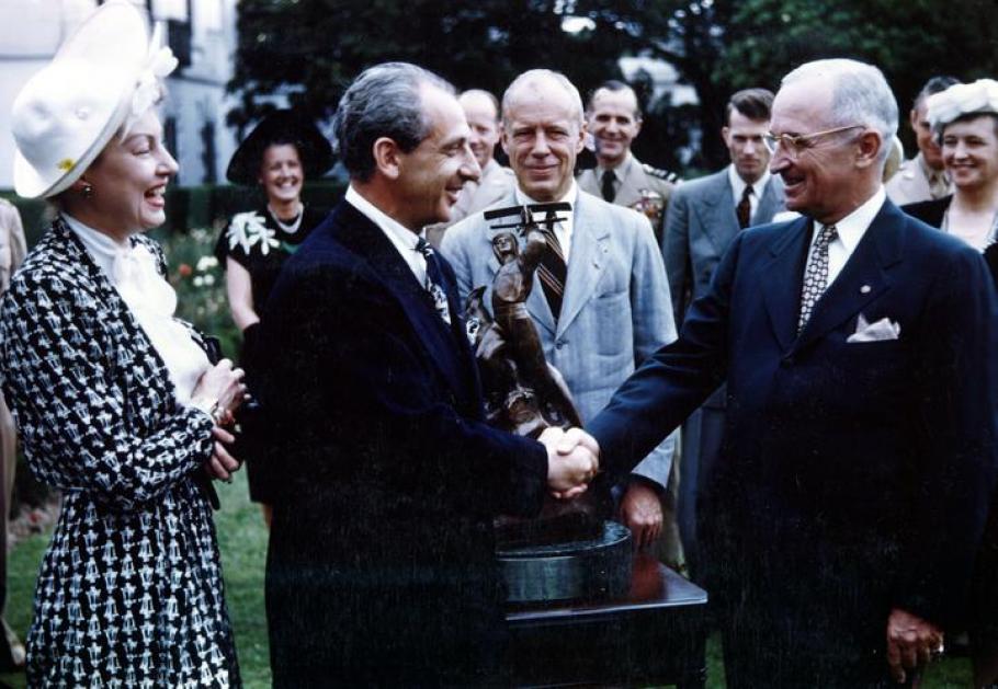 President Harry S. Truman awards the International Harmon Trophy to Major Alexander P. de Seversky