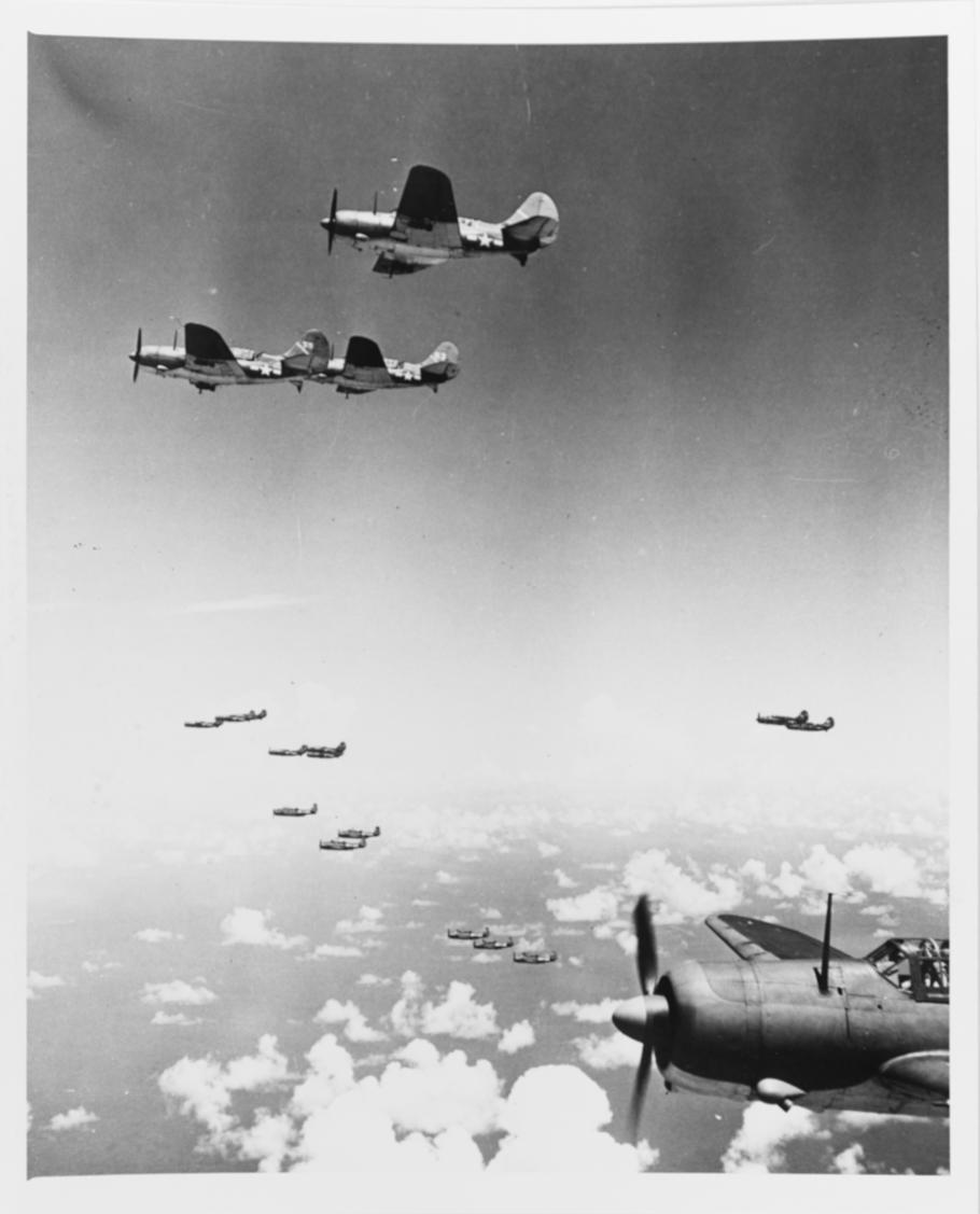 Curtiss SB2Cs and Grumman TBFs (in background) during the Battle of the Philippine Sea