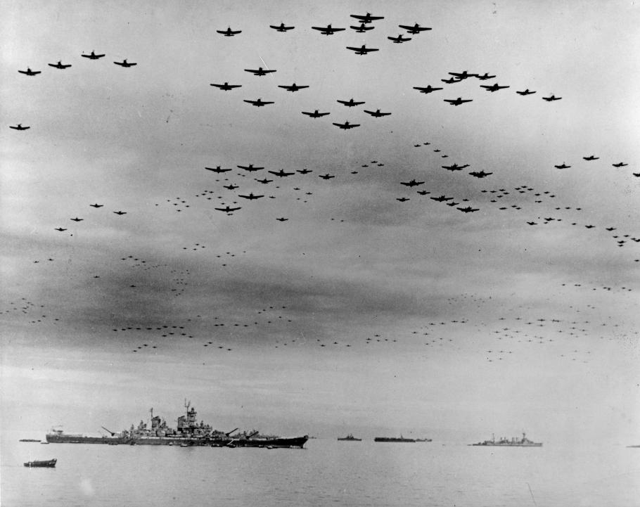 Carrier airplanes flyover Tokyo Bay at surrender ceremony