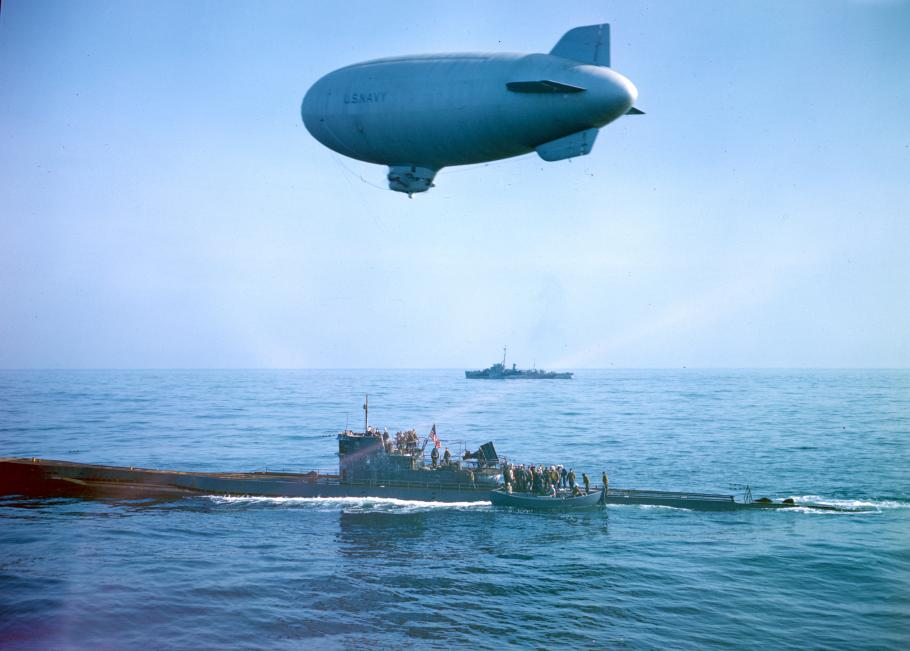 K-ship flies over surfaced U-Boat