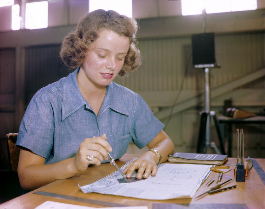 Elizabeth Holbrook and many other WAVES worked in a huge assembly and repair building at a Naval Air Station in Hawaii