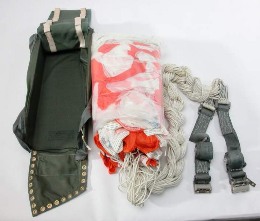 Packaged parachute set.